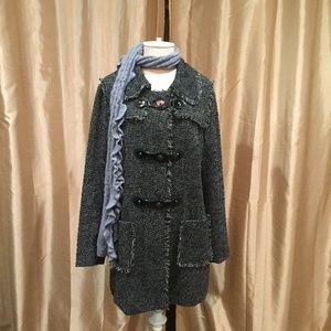 Style&co Shimmer Tweed Look Coat-L